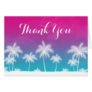 Tropical Teal Blue Pink Thank You Stationery Note Card