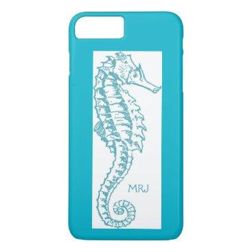 Beach Themed Tropical Teal Blue Seahorse Monogram Initials iPhone 7 Plus Case