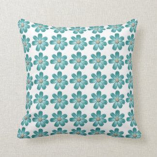 Tropical Teal Blue Turquoise Daisy Flower Couch Throw Pillow