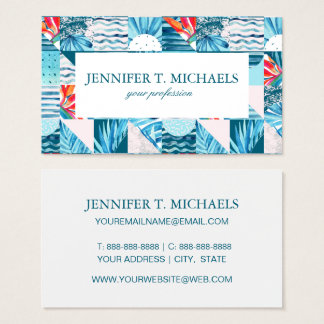Tropical Teal Geometric Abstract Pattern Business Card