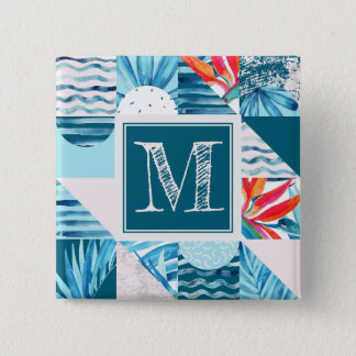 Tropical Teal Geometric Abstract Pattern Button