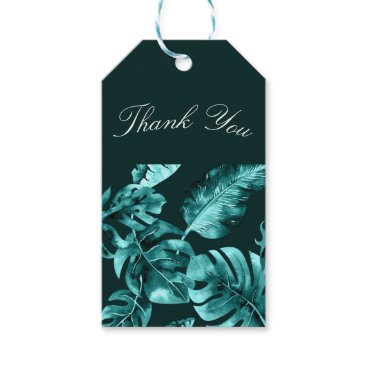 Tropical Teal Palm Leaves Island Wedding Favor Gift Tags