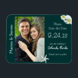 """Tropical Teal Save the Date Flat Photo Magnet<br><div class=""""desc"""">Save the date photo magnet with a tropical theme.  Dark teal color with a starfish and white plumeria flowers.  Easily add a photo and choose either size.  Pictures that are vertical,  4x6 or 5x7 (or similar) work best.</div>"""