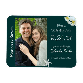Tropical Teal Save the Date Flat Photo Magnet