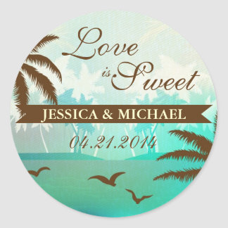Tropical Teal Scenic Beach Love is Sweet Sticker
