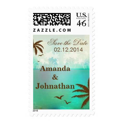 Tropical Teal Scenic Beach Wedding Postage