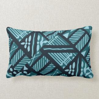 Tropical Teal Tapa Cloth 13 x20 Lumbar Pillow