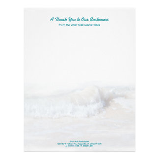 Tropical Teal Text Ocean Waves Business Stationery Letterhead Design