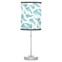 Tropical Teal Watercolor Palm Frond Leaf Pattern Desk Lamp