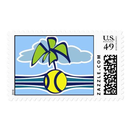 Tropical Tennis Stamp