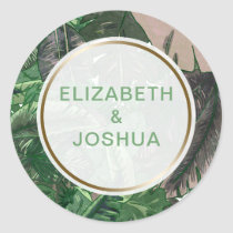 Tropical Terrain botanical greenery wedding Classic Round Sticker