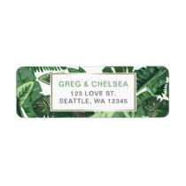 Tropical Terrain botanical greenery wedding Label