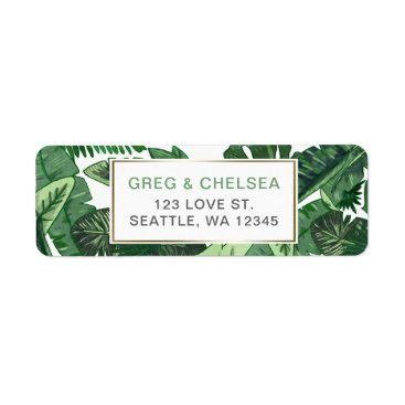 Tropical Terrain botanical greenery wedding Label
