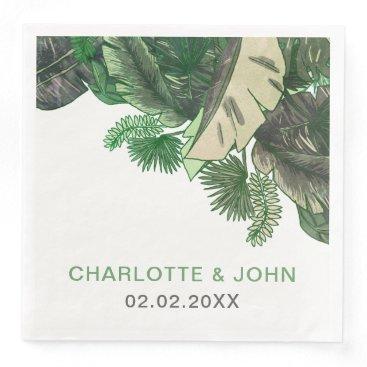Tropical Terrain botanical greenery wedding Paper Dinner Napkin