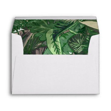 Tropical Terrain botanical leaves liner Envelope