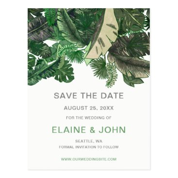 Tropical Terrain botanical Save the Date Postcard