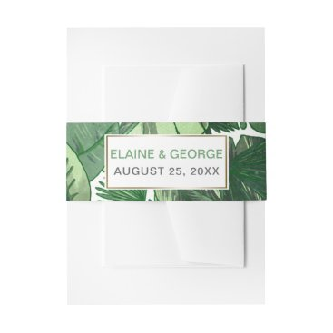Tropical Terrain botanical wedding Invitations Invitation Belly Band
