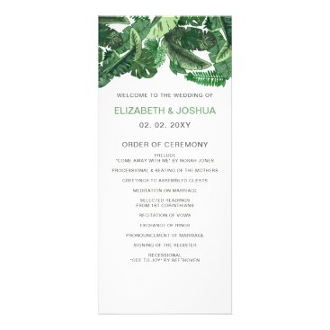 Tropical Terrain botanical wedding Programs
