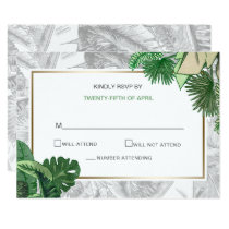Tropical Terrain botanical wedding rsvp cards