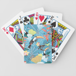 Tropical Texture With Toucans and Hummingbirds Bicycle Playing Cards
