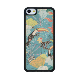 Tropical Texture With Toucans and Hummingbirds Carved® Maple iPhone 5C Slim Case