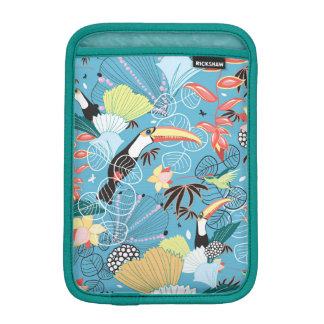 Tropical Texture With Toucans and Hummingbirds iPad Mini Sleeves