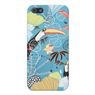 Tropical Texture With Toucans and Hummingbirds Covers For iPhone 5