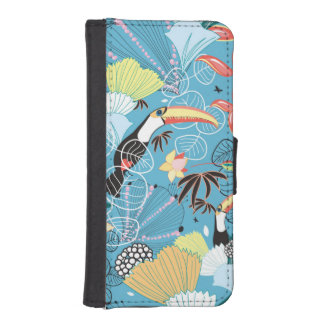 Tropical Texture With Toucans and Hummingbirds iPhone 5 Wallet Case