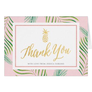 Beach Themed Tropical Thank You Cards | Pink & Gold Pineapple
