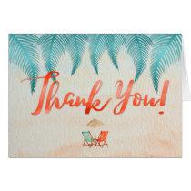 Tropical Thank You Watercolor Beach & Palms Card