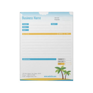 Tropical Theme Order Form or Invoice Notepad