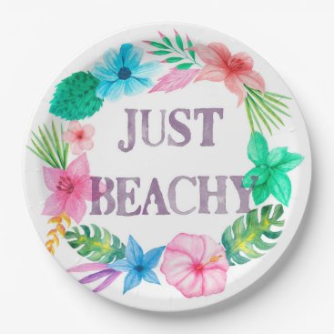 Tropical Theme Paper Plates for Luau Beach Party