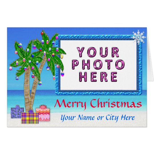 "Tropical Themed ""Add A PHOTO Christmas Cards"" Card"