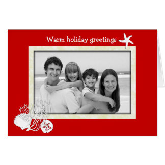 Tropical Themed Christmas Red and White Photo Card