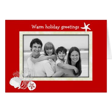 Beach Themed Tropical Themed Christmas Red and White Photo Card