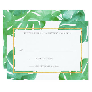 Tropical Themed Gold Reply Cards