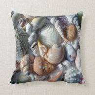 Tropical Themed Seashell Throw Pillow