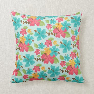Beach Themed Tropical Throw Pillow Hawaii Aloha Hibiscus Flower