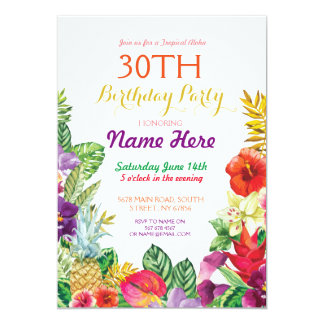 Tropical Tiki Aloha Chalk Birthday Party Invite