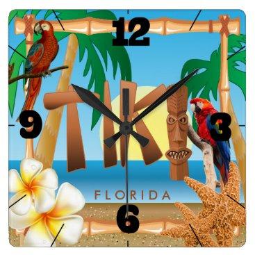 DesignsbyDonnaSiggy Tropical Tiki Design Square Wall Clock