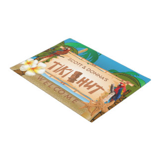 Tropical Tiki Hut Design Doormat