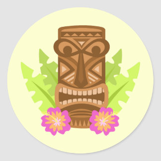 Tropical tiki mask hibiscus cute stickers