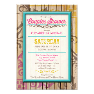 Tropical Tiki Wood Tattoo Couples Shower Invite