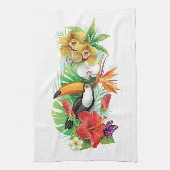 Tropical Toucan Collage (left) Kitchen Towel