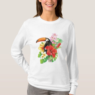 Tropical Toucan Collage White Long Sleeve T-Shirt