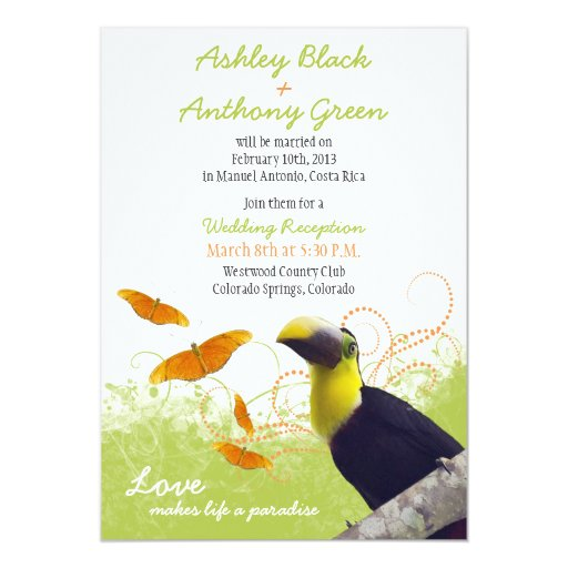 Tropical Toucan Destination Wedding Reception Only 5x7 Paper Invitation Card