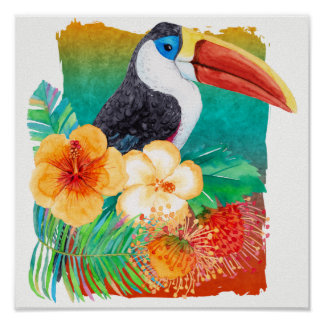 Tropical Toucan Hibiscus Watercolor Floral Poster