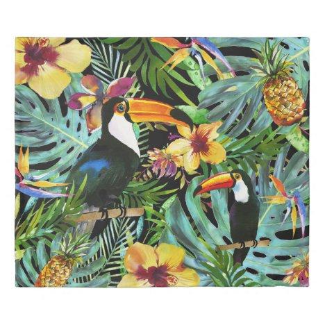 Tropical Toucan Paradise Palm Pineapple Modern Duvet Cover