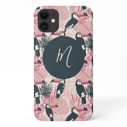 Tropical Toucan Pattern Script Monogram iPhone 11 Case