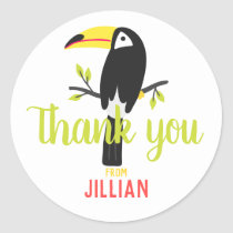Tropical Toucan Personalized Thank You Classic Round Sticker